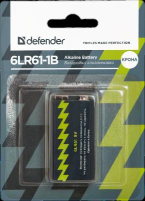 Батарейка алкалиновая 6LR61-1B Крона, в блистере 1шт, 9 В