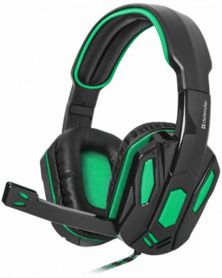 Игровая гарнитура Warhead G-275 зеленый + черный, кабель 1,8 м