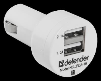 Автомобильный адаптер ECA-15 2 порта USB, 5V/2А, пакет